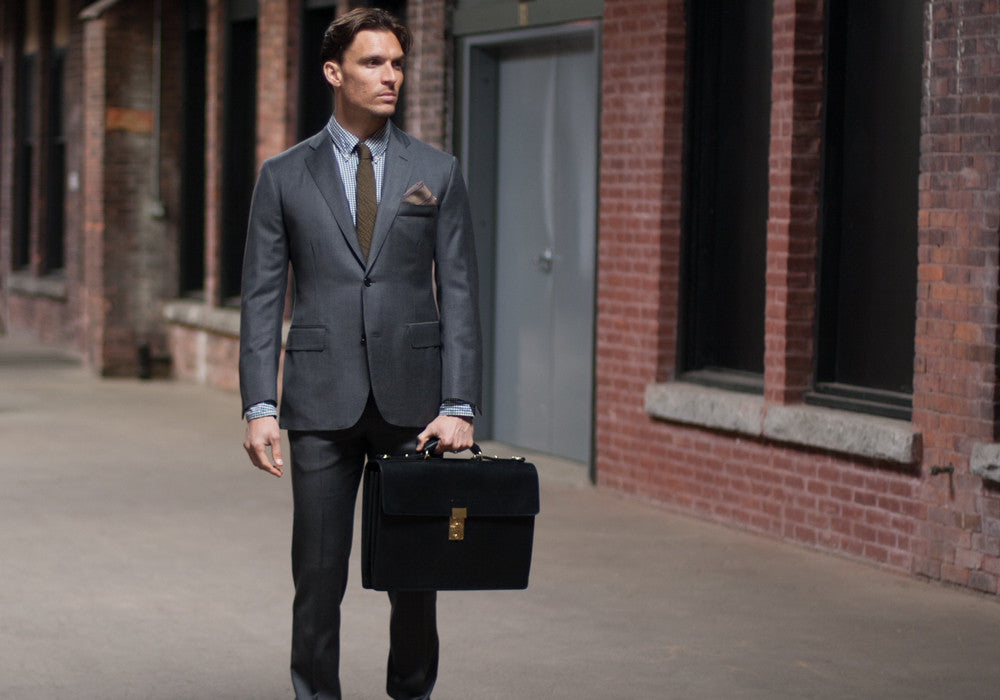 Bridle Leather Compass Lock Briefcase Lifestyle