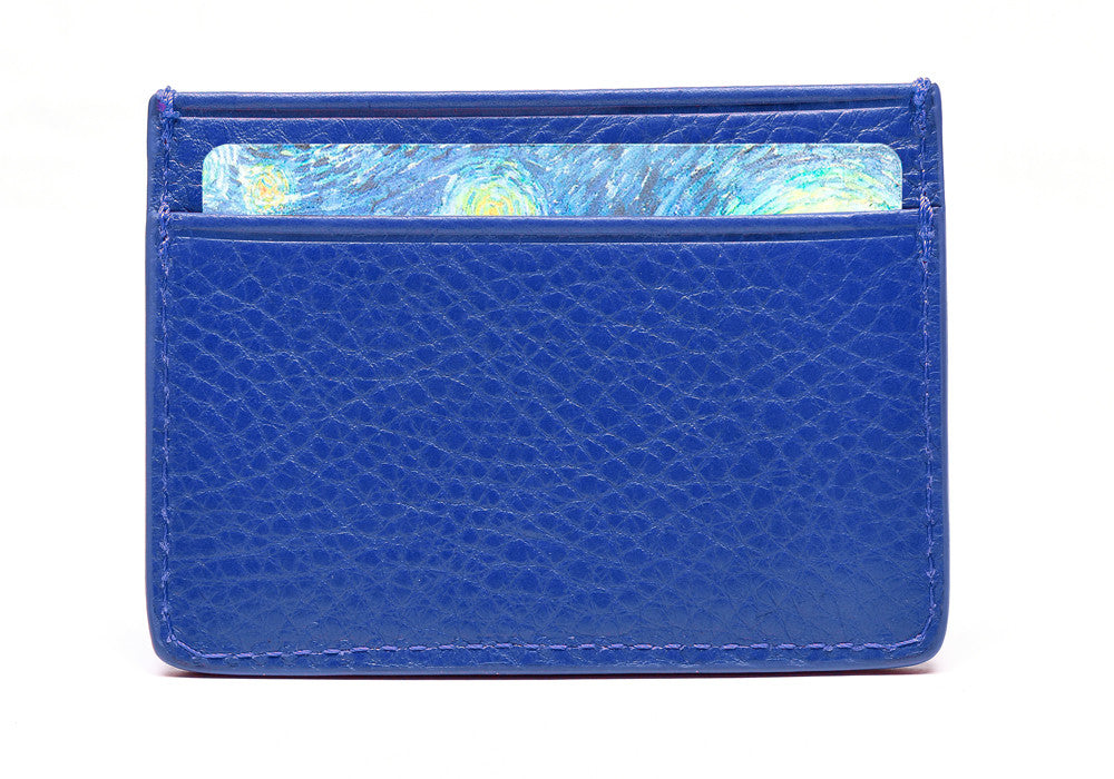 Front Full of Leather Credit Card Wallet Electric Blue