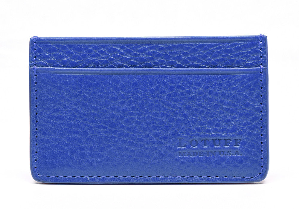 Front View of Leather Credit Card Wallet Electric Blue