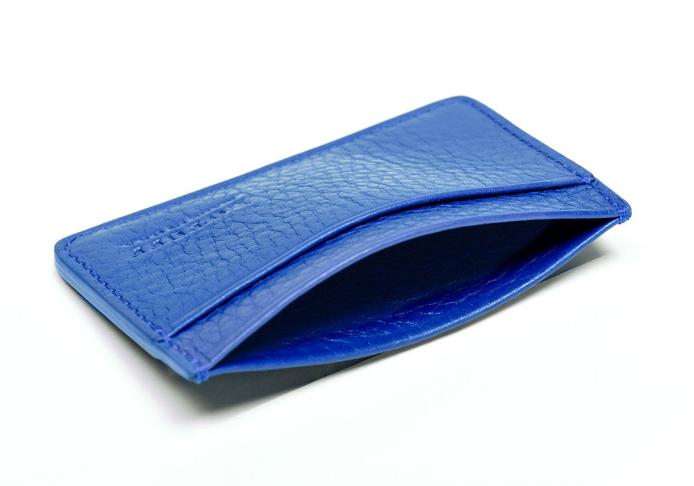 Top of Leather Credit Card Wallet Electric Blue