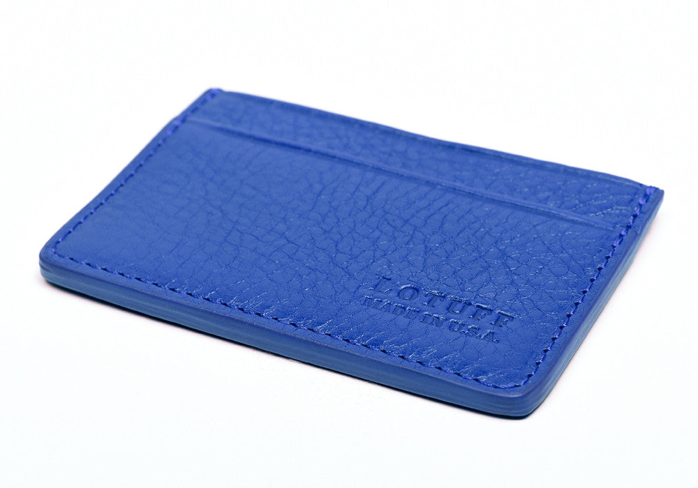 Bottom of Leather Credit Card Wallet Electric Blue