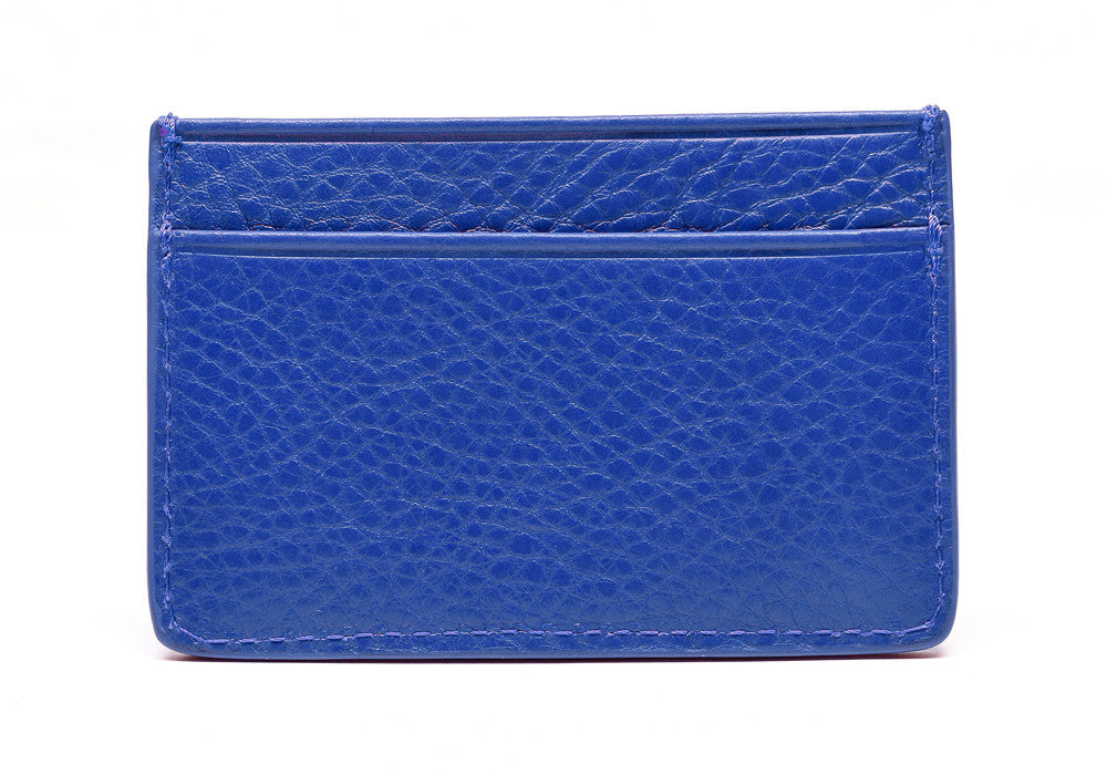 Back of Leather Credit Card Wallet Electric Blue