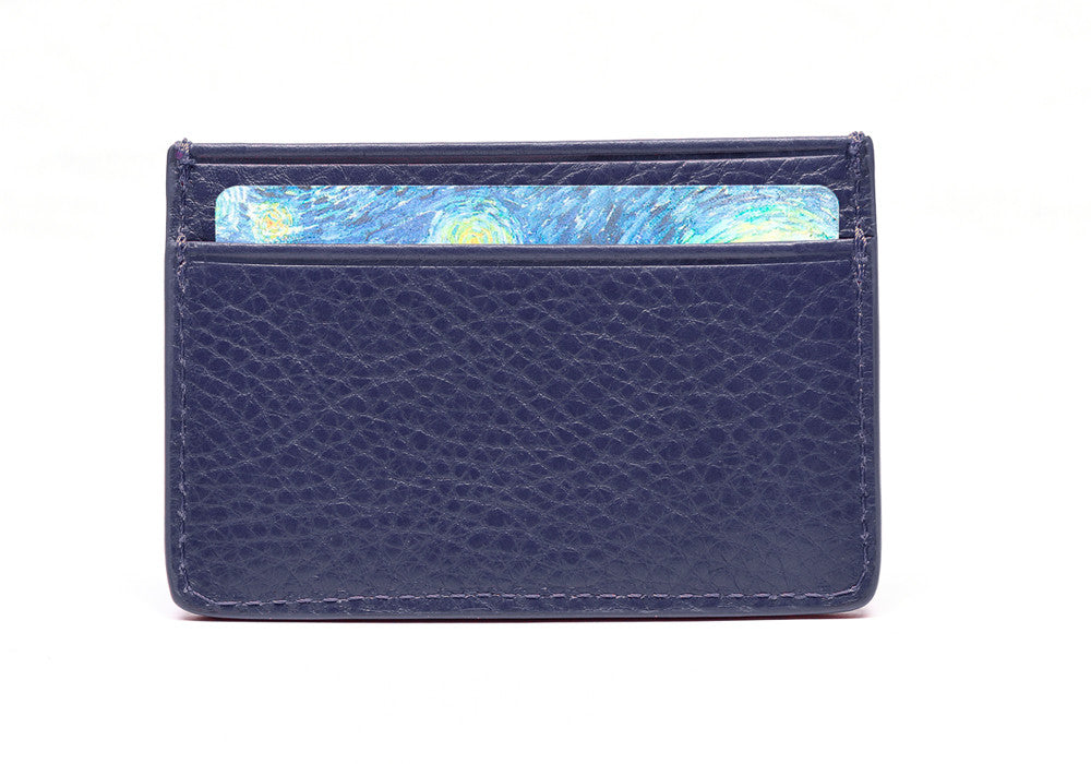 Front View of Leather Credit Card Wallet Indigo