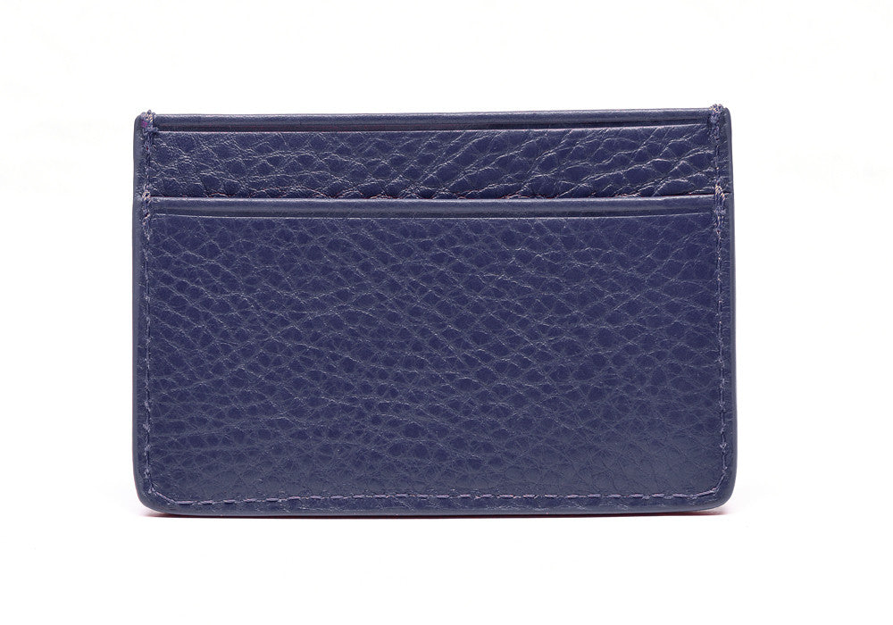 Back View of Leather Credit Card Wallet Indigo