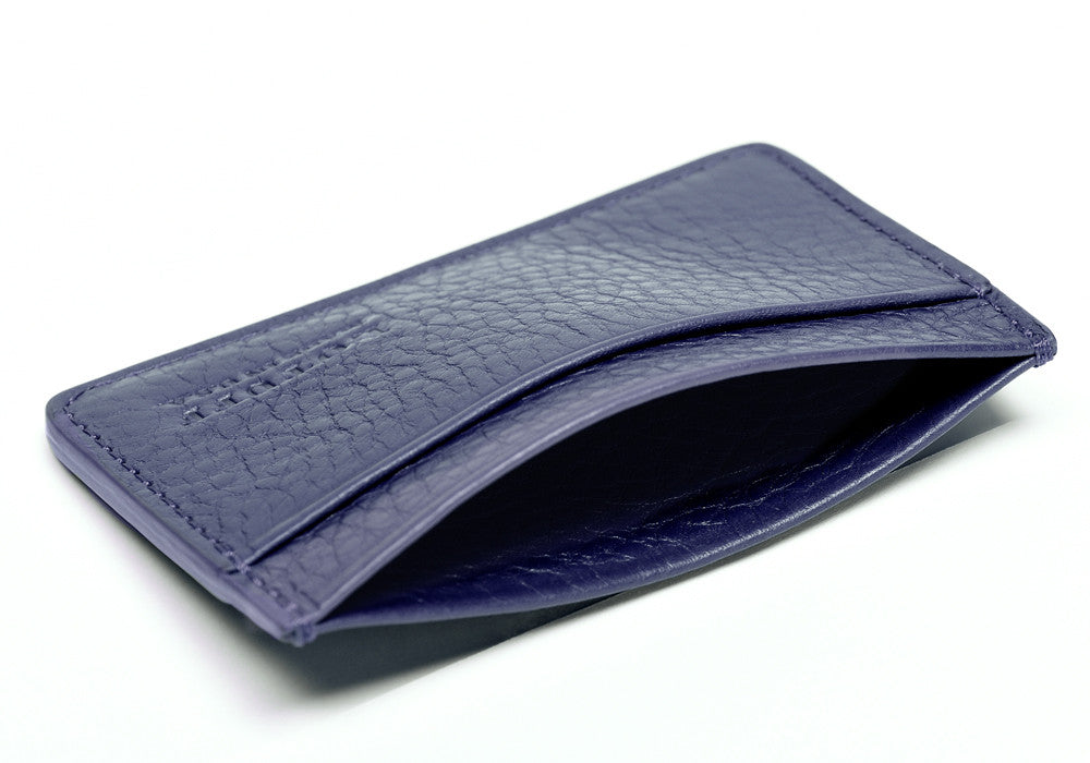 Top View Open of Leather Credit Card Wallet Indigo