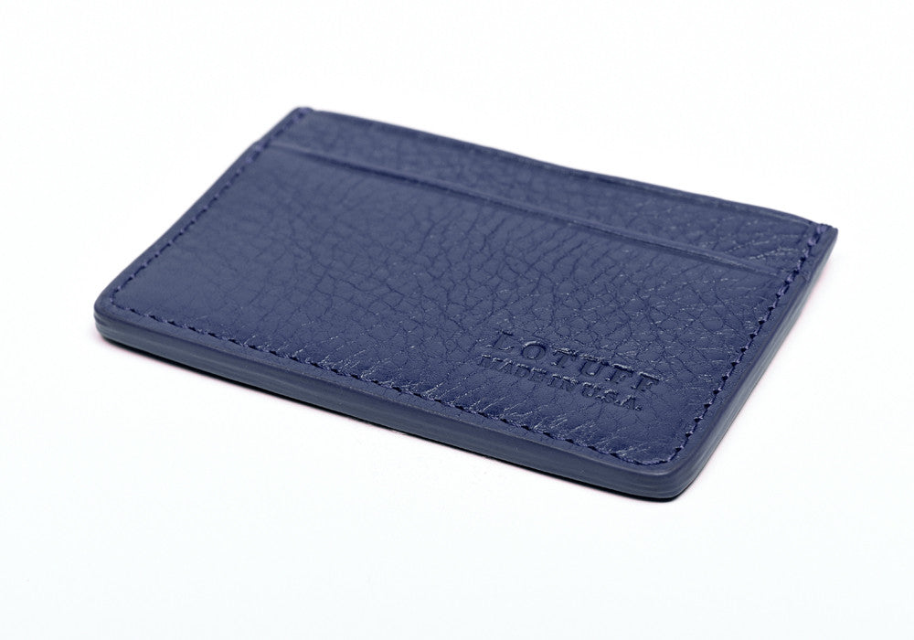 Bottom View of Leather Credit Card Wallet Indigo