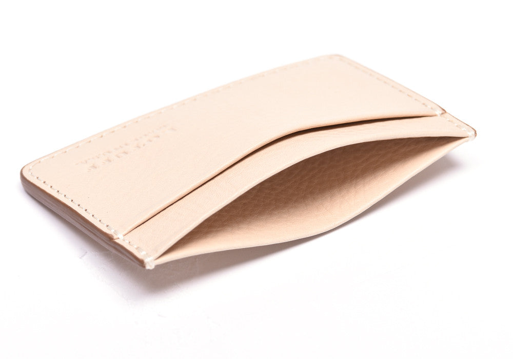 Top Open View of Leather Credit Card Wallet Natural