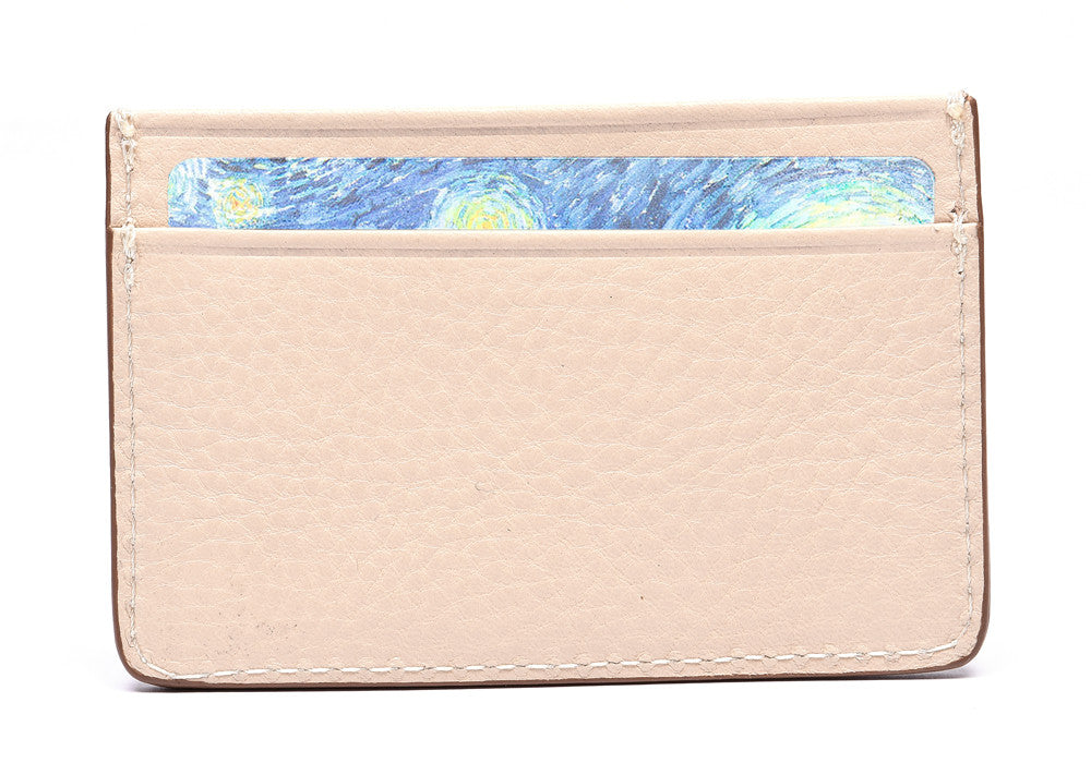 Front Full View of Leather Credit Card Wallet Natural