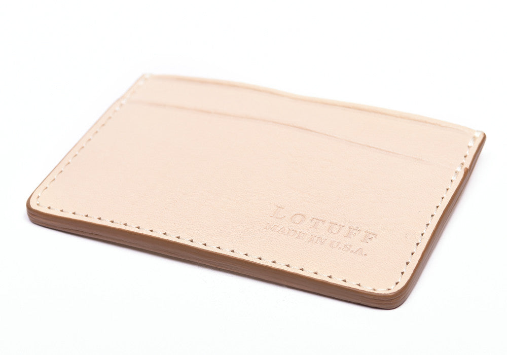 Bottom View of Leather Credit Card Wallet Natural