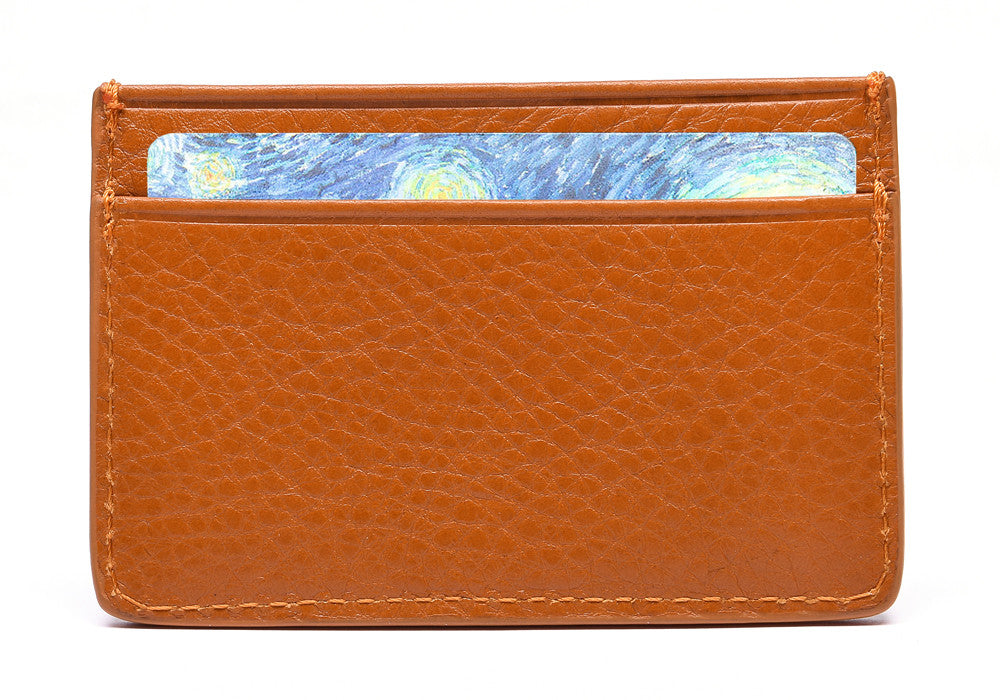 Front View Full of Leather Credit Card Wallet Orange