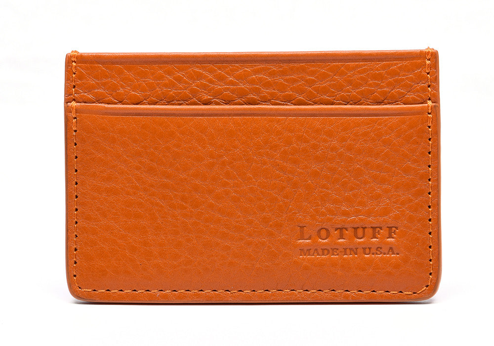 Front View of Leather Credit Card Wallet Orange