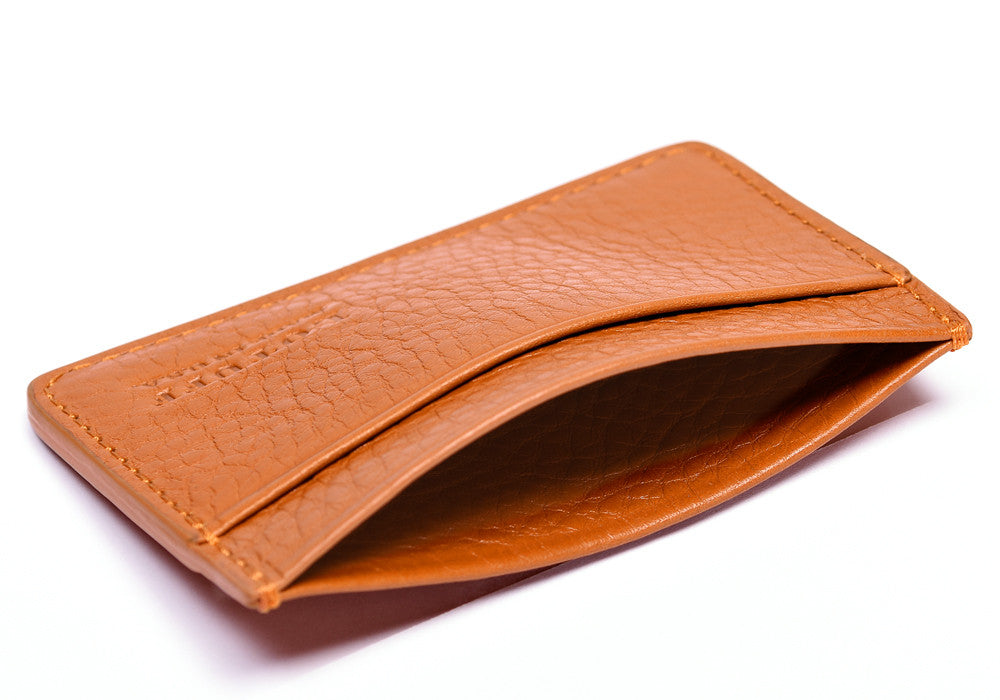 Top View of Leather Credit Card Wallet Orange