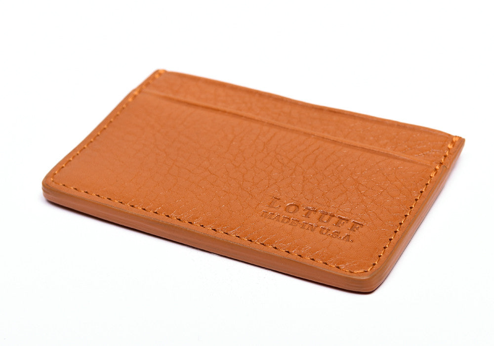 Bottom View of Leather Credit Card Wallet Orange