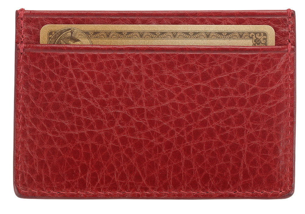 Front View of Leather Credit Card Wallet Red