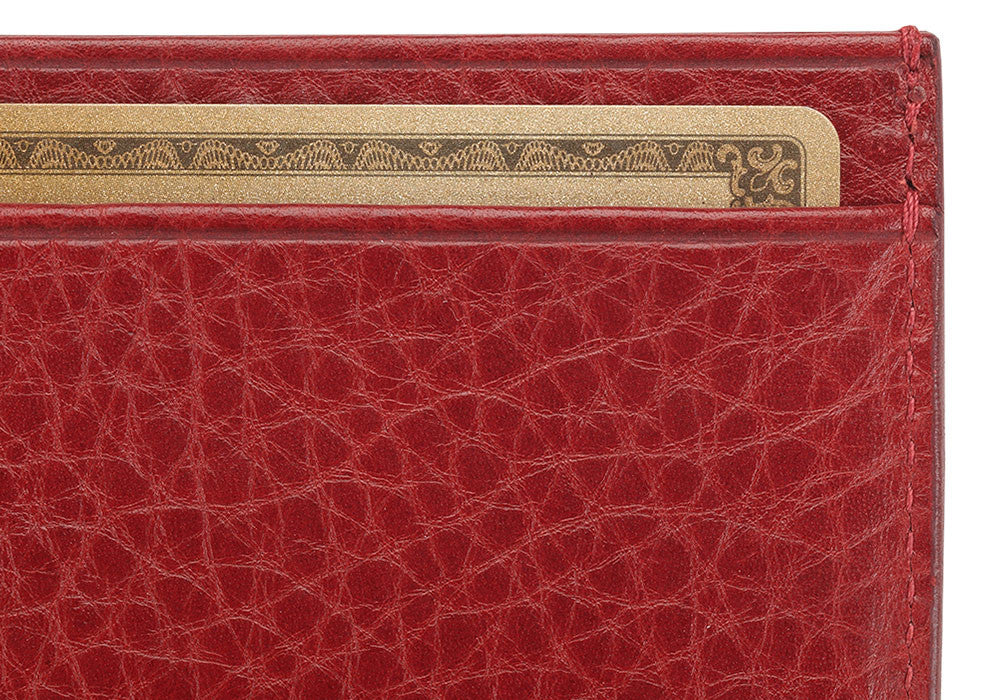 Front Close Up of Leather Credit Card Wallet Red