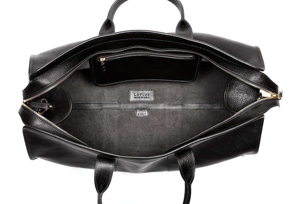 Inner Leather of Leather Duffle Travel Bag Black