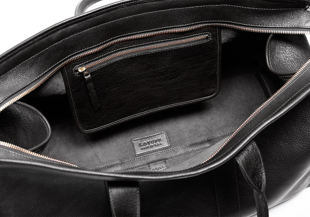 Inner Leather Pocket of Leather Duffle Travel Bag Black
