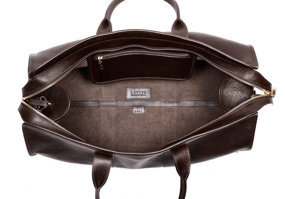Inner Leather View of Leather Trunk Duffle Bag Chocolate