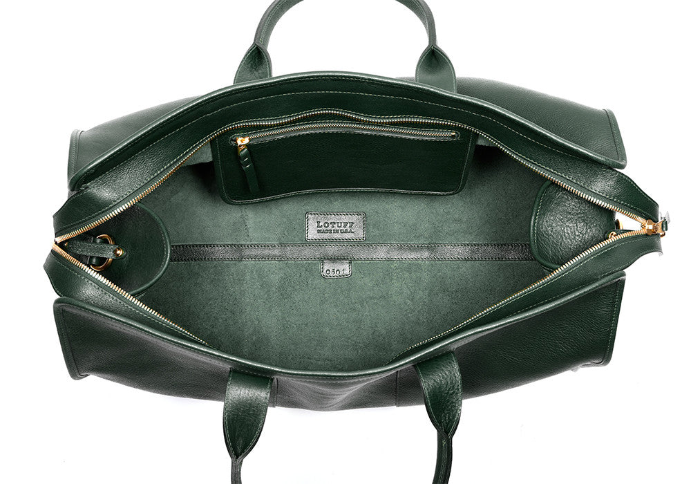 Inner Leather View of Leather Duffle Travel Bag Green
