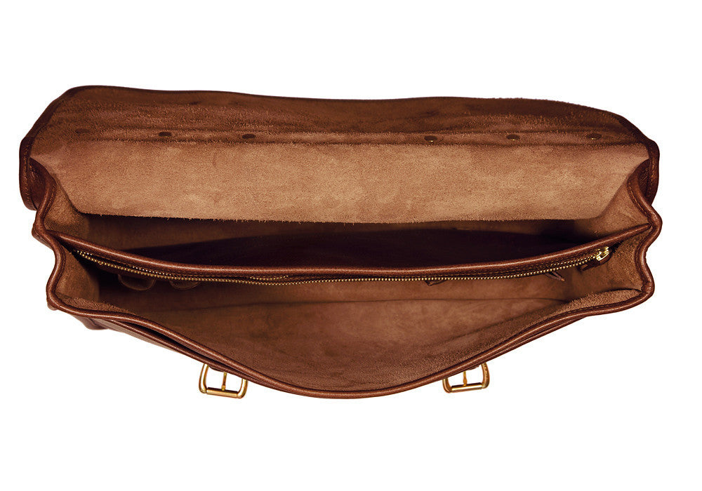 Inner Leather View of English Briefcase Chestnut