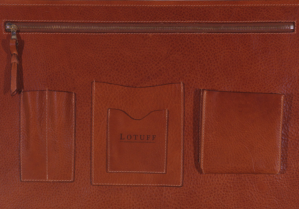 Inner Leather Pocket of English Briefcase Chestnut
