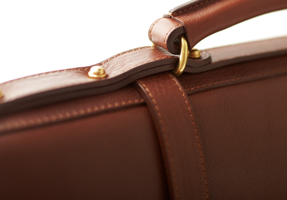 Top Handle View of English Briefcase Chestnut
