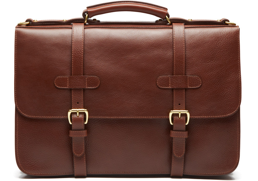 Front Leather View of English Briefcase Chestnut