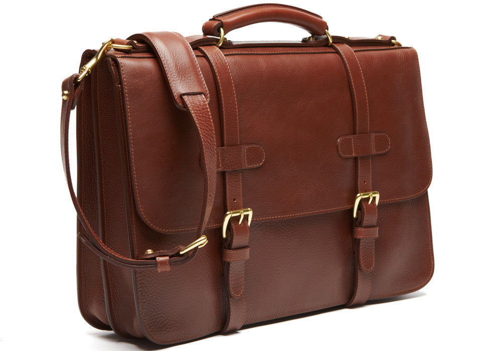 Side Front View of English Briefcase Chestnut