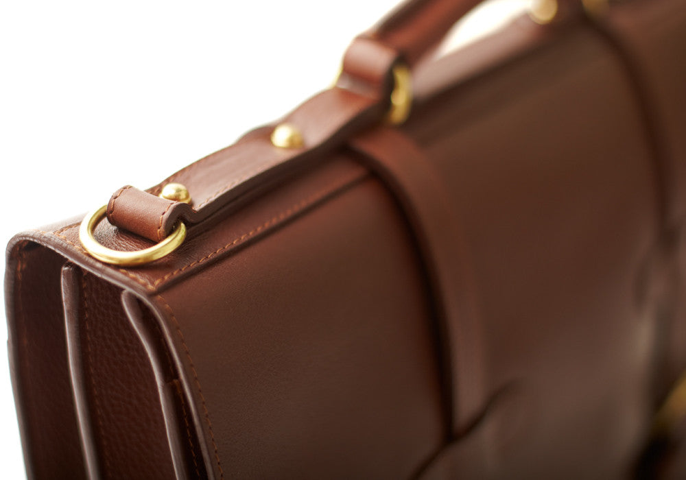 Top Leather Handle of English Briefcase Chestnut