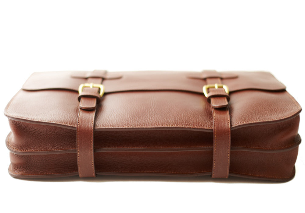 Bottom View of English Briefcase Chestnut
