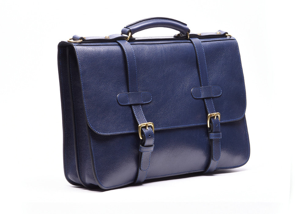 Front Side View of English Briefcase Indigo