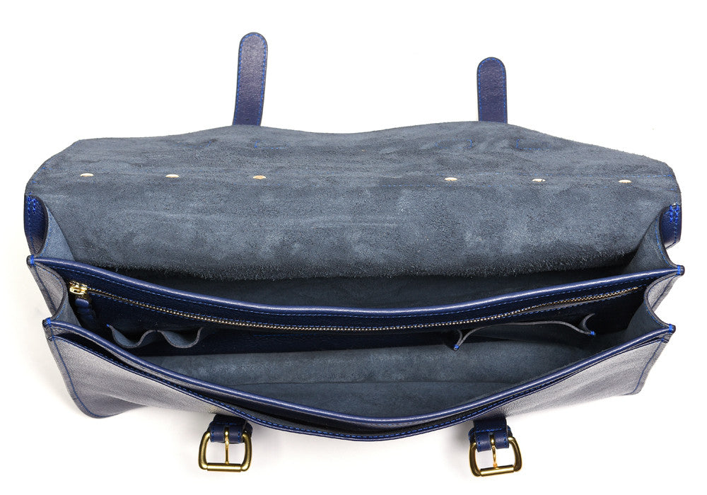 Inner Leather View of English Briefcase Indigo