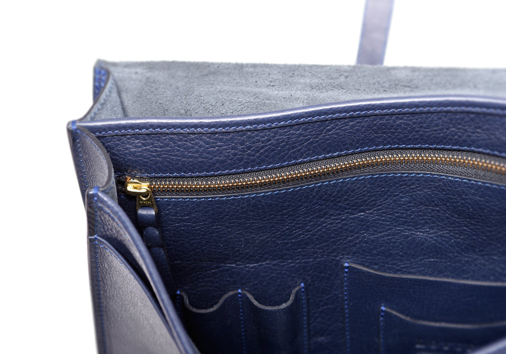 Corner Leather View of English Briefcase Indigo