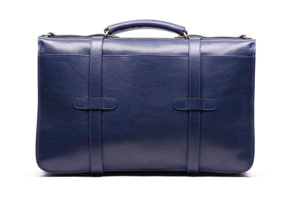 Back Leather View of English Briefcase Indigo