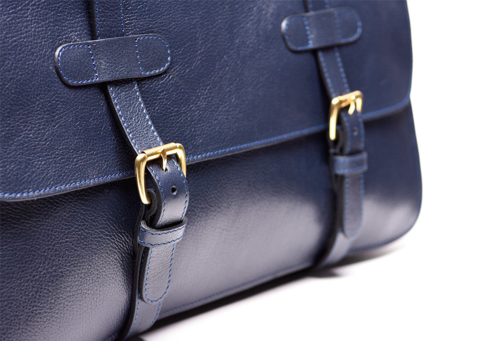 Front Leather Straps of English Briefcase Indigo
