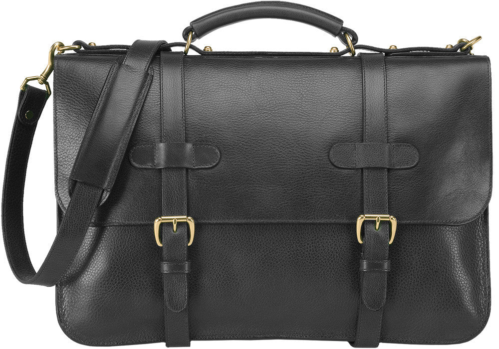 Front Leather View of English Briefcase Black