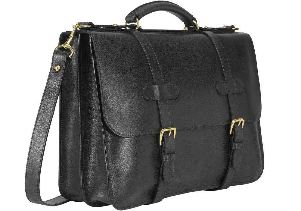 Front Side Angle View of English Briefcase Black