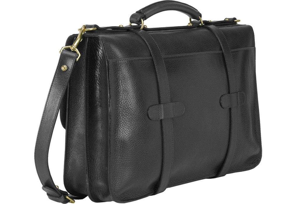 Back Leather Angle View of English Briefcase Black