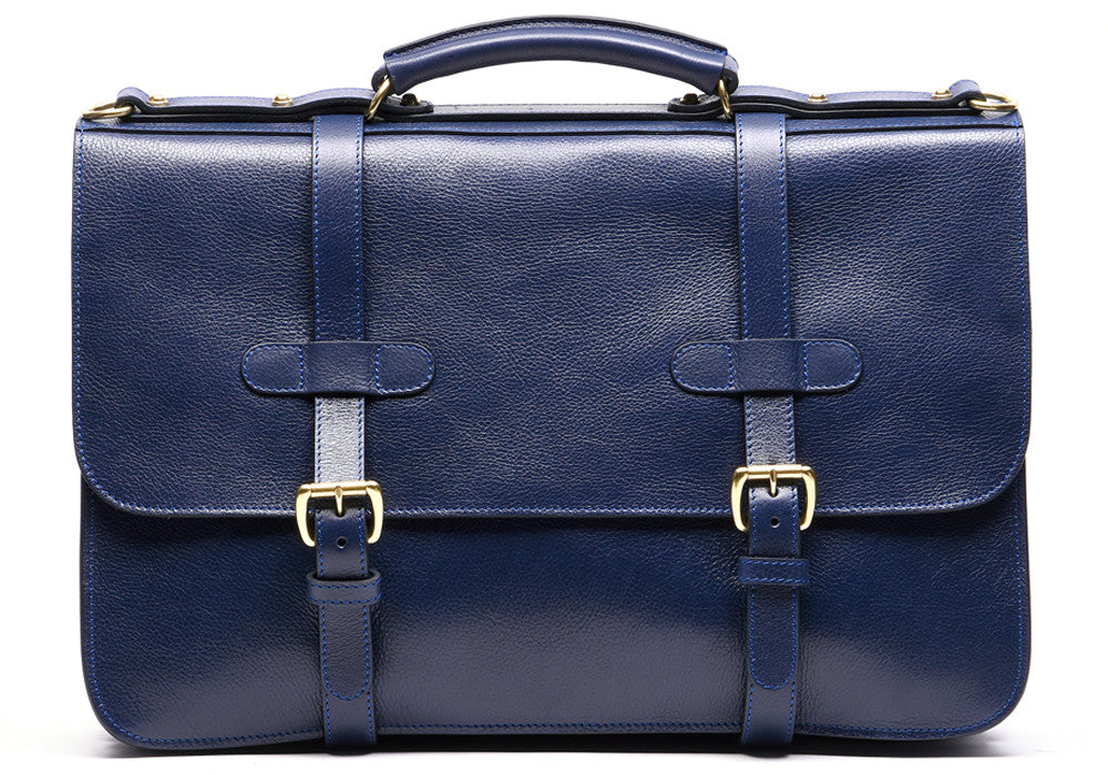 Front Straps of English Briefcase Indigo