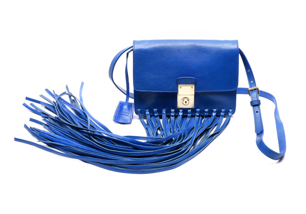 Front View of Custom Fringed Leather Locking Crossbody Electric Blue