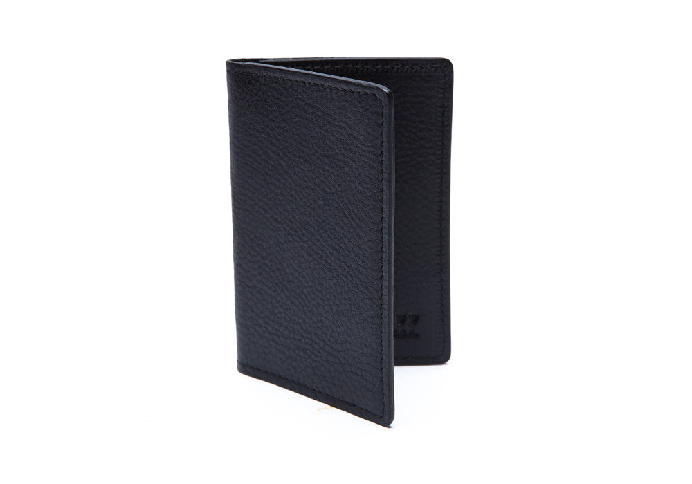 Side View Closed of Leather Folding Card Wallet Navy