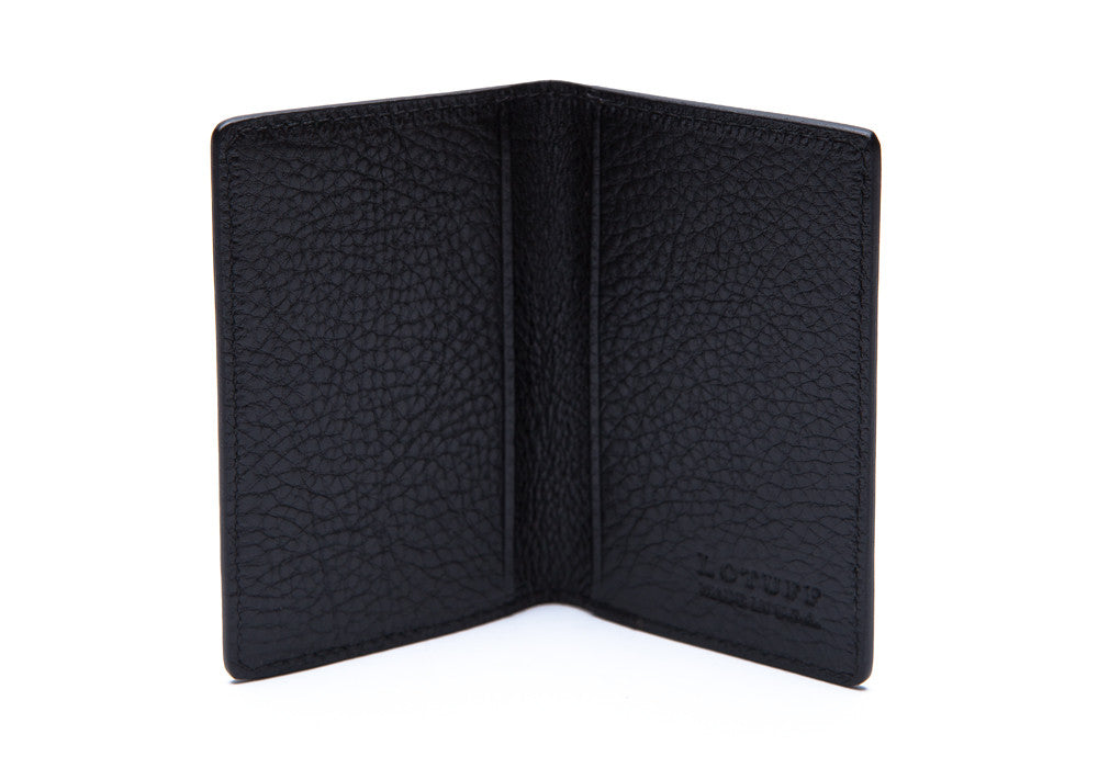 Open Side View of Leather Folding Card Wallet Black