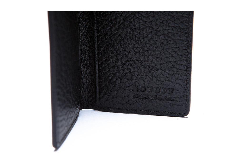Inside Logo View of Leather Folding Card Wallet Black