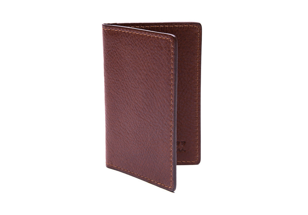 Side View Closed of Leather Folding Card Wallet Chestnut