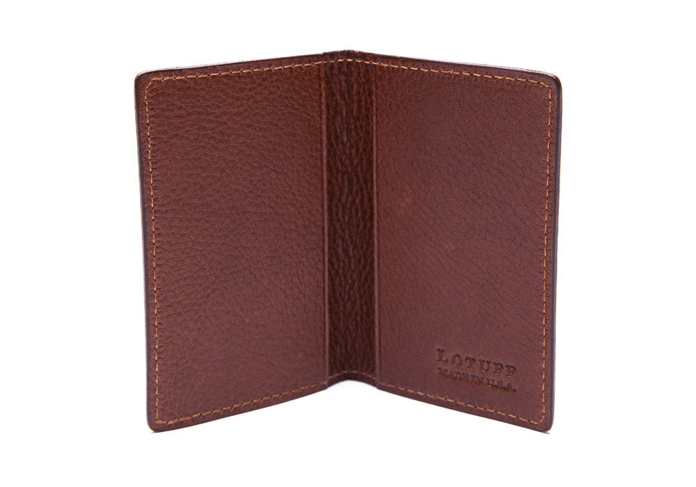 Leather Folding Card Wallet Chestnut