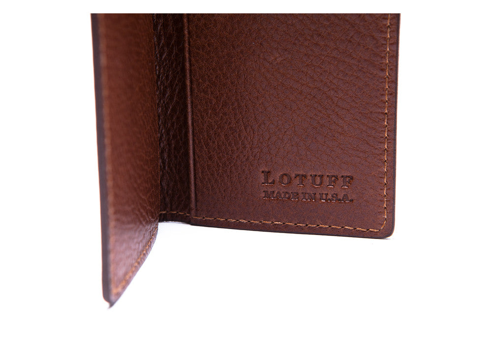 Open Side View of Leather Folding Card Wallet Chestnut