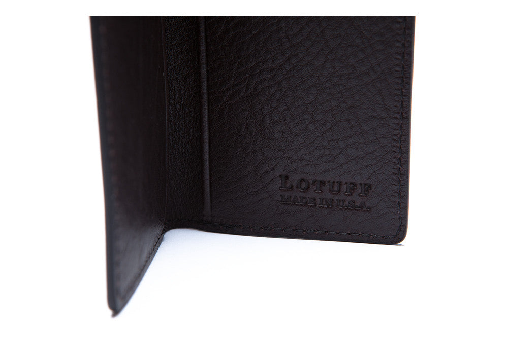Inside Logo View of Leather Folding Card Wallet Chocolate