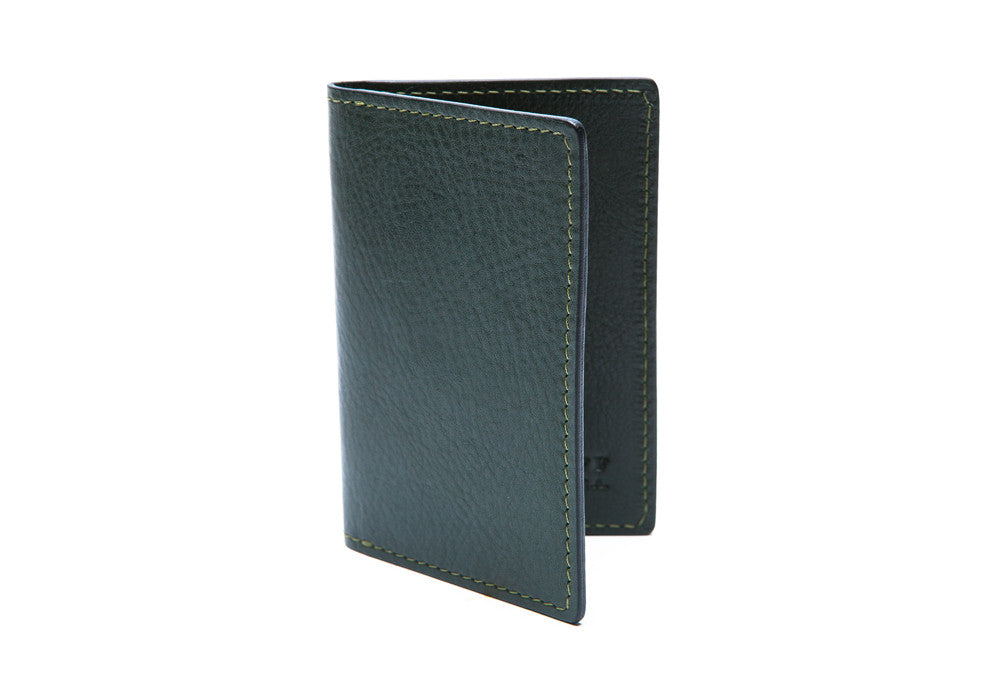 Front Flap Closed of Leather Folding Card Wallet Green