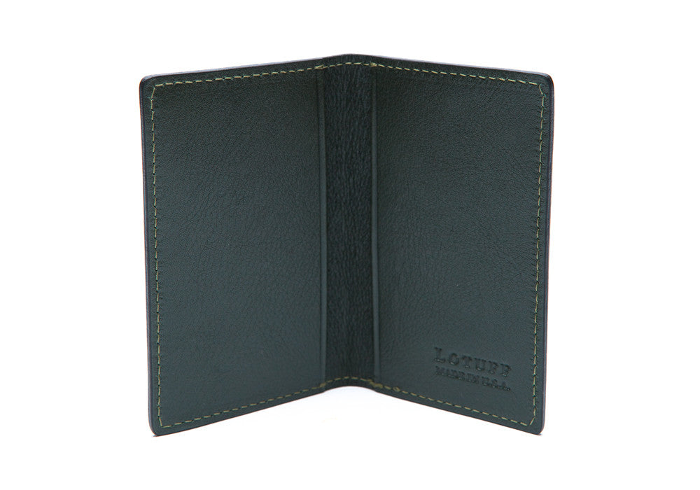 Leather Folding Card Wallet Green