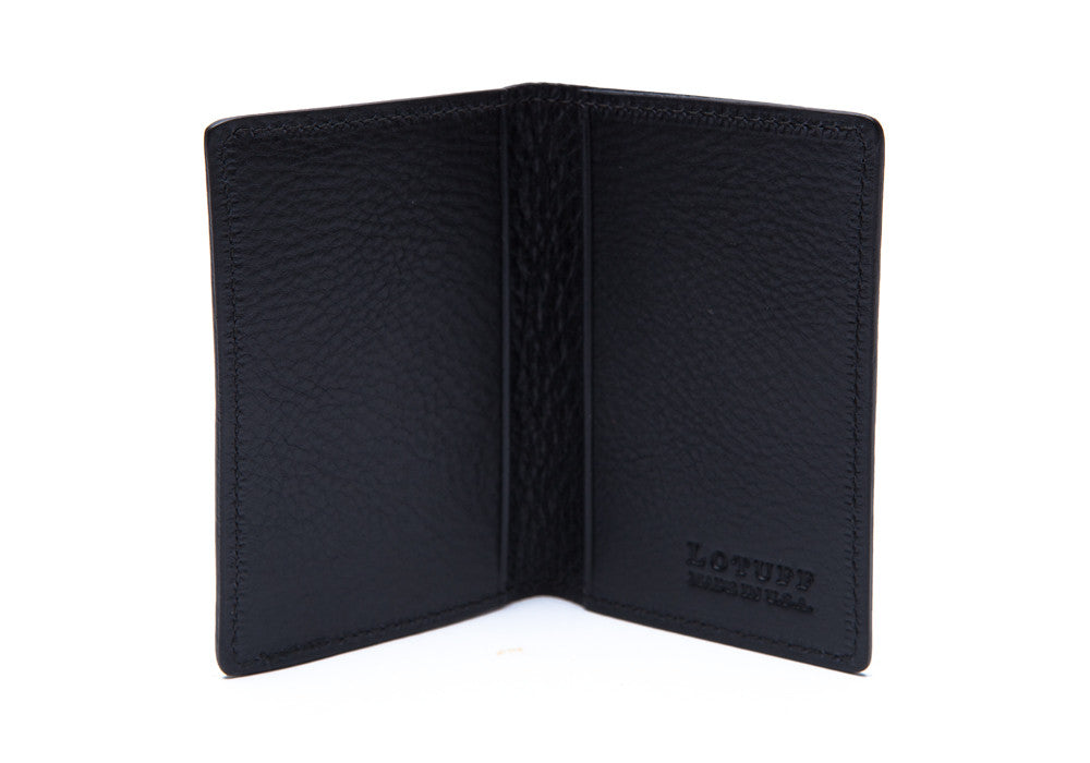 Side View Open of Leather Folding Card Wallet Navy